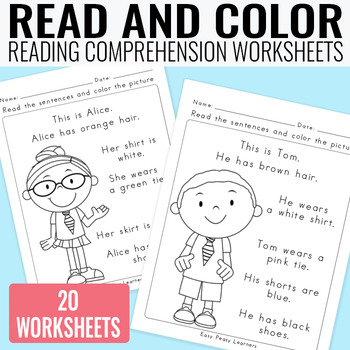 Read and Color Reading Comprehension Worksheets