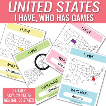 I Have Who Has Games are great for learning in the classroom and this I Have Who Has States Game is perfect for learning all the USA states, these offer a good alternative to USA states worksheets.