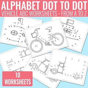 Vehicle Dot to Dot Alphabet Worksheets