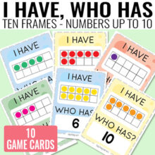 I Have, Who Has Ten Frames up to 10 Game