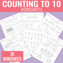 Counting to 10 Worksheets - Kindergarten
