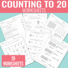Counting to 20 Worksheets - Kindergarten