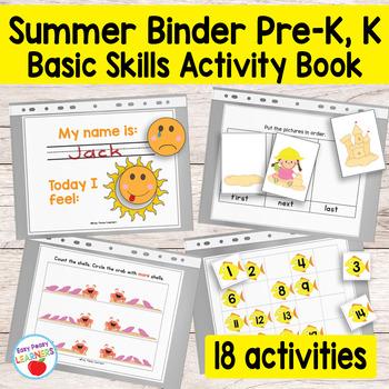 Kinder & Preschool Summer Binder Activity Book
