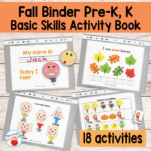 Kinder & Preschool Fall Binder Activity Book
