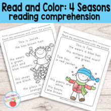 Season Read and Color Reading Comprehension Worksheets - Grade 1 / Kindergarten