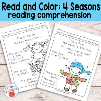 Season Read and Color Reading Comprehension Worksheets - Grade 1 / Kindergarten