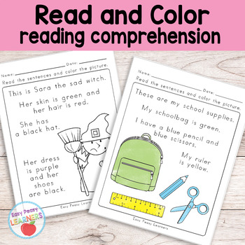 Evergreen Read and Color Reading Comprehension Worksheets Kindergarten Gr-1