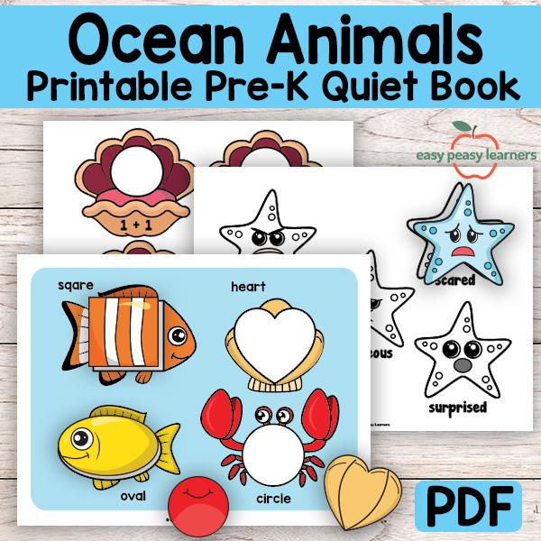 Kinder & Preschool Ocean Animals Binder Activity Book